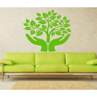 Hands germ of life tree Wall Art Sticker Decal Green