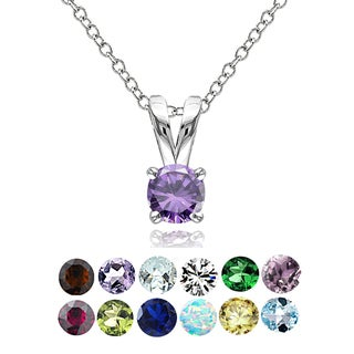 Link to Glitzy Rocks Sterling Silver Gemstone 5mm Birthstone Round Solitaire Necklace Similar Items in Birthstone Jewelry