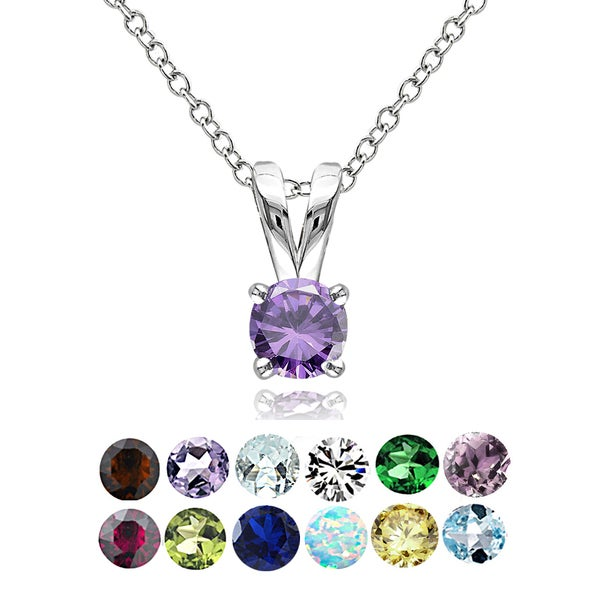 Glitzy Rocks Sterling Silver Gemstone 5mm Birthstone Round Solitaire Necklace. Opens flyout.