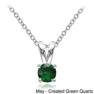 Glitzy Rocks Sterling Silver Gemstone 5mm Birthstone Round Solitaire Necklace (Option: Green - Quartz - Green - May)