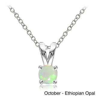 Glitzy Rocks Sterling Silver Gemstone 5mm Birthstone Round Solitaire Necklace
