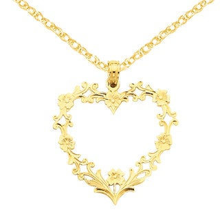 Versil 14k Gold Large Floral Heart Pendant 18-inch Necklace
