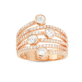 Gioelli Rose Gold over Silver Spiral Round-cut Cubic Zirconia Ring