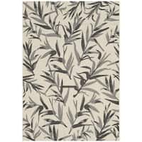 Safavieh Indoor/ Outdoor Courtyard Beige/ Anthracite Rug - 4' x 5'7""
