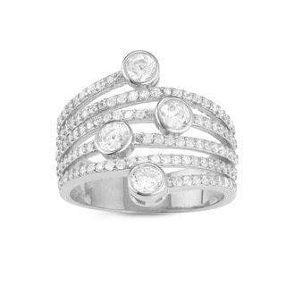 Gioelli Sterling Silver Spiral Round-cut Cubic Zirconia Ring