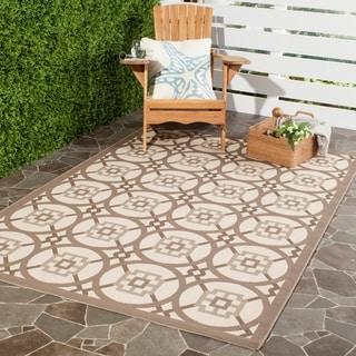 Safavieh Indoor/ Outdoor Courtyard Beige/ Navy Rug (4' x 5' 7)