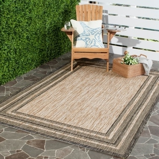 Safavieh Indoor/ Outdoor Courtyard Natural/ Black Rug (4' x 5'7)