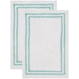 Safavieh Handmade Plush Master Bath Aqua Cotton Rug (2' x 3') - 2' x 3'