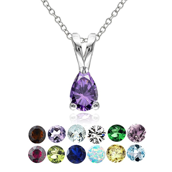 Glitzy Rocks Sterling Silver Gemstone Birthstone Teardrop Solitaire Necklace. Opens flyout.