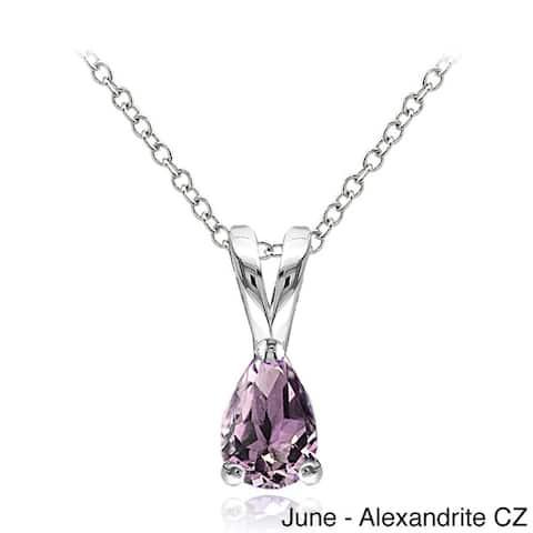Glitzy Rocks Sterling Silver Gemstone Birthstone Teardrop Solitaire Necklace