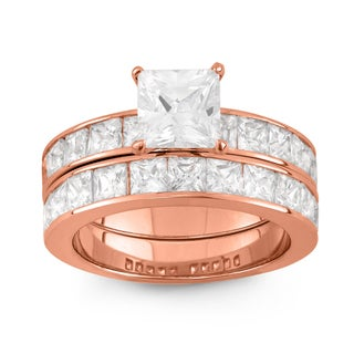 Gioelli Rose Gold over Silver Cubic Zirconia Princess-cut 2-piece Bridal Ring Set