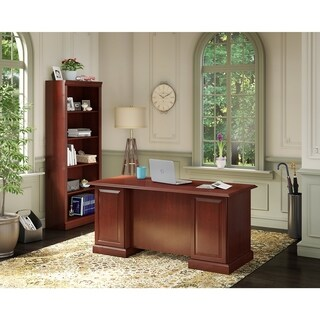 kathy ireland® Office Bennington Manager's Desk and Bookcase in Cherry