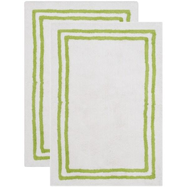 Safavieh Handmade Plush Master Bath Light Green Cotton Rug (2' x 3')