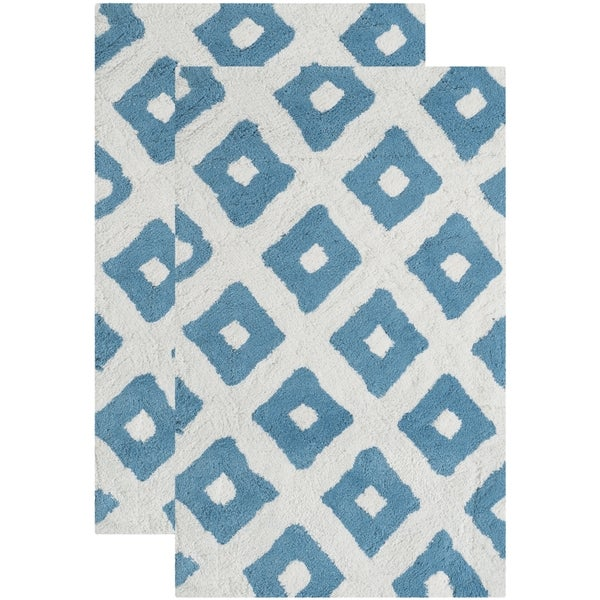 Safavieh Handmade Plush Master Bath Arizona Blue Cotton Rug (1' 9 x 2' 10)