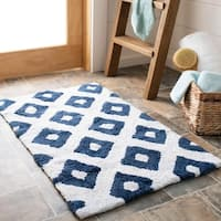 Safavieh Handmade Plush Master Bath Nautical Blue Cotton Rug (1' 9 x 2' 10)