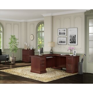 kathy ireland® Office Bennington L Desk and Lateral File in Cherry - Brown