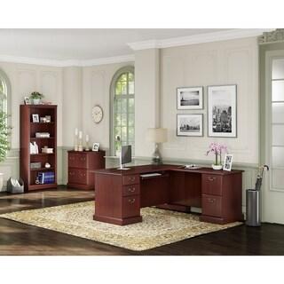 kathy ireland® Office Bennington L Desk Office Suite in Cherry - Brown