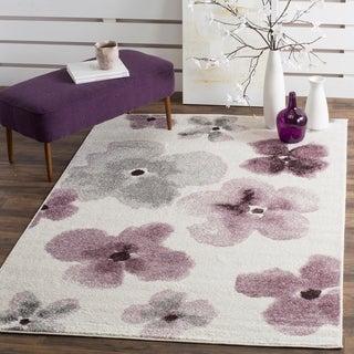 Safavieh Adirondack Floral Watercolor Ivory / Purple Rug (3' x 5')