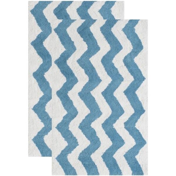 Safavieh Handmade Plush Master Bath Arizona Blue Cotton Rug (1' 9 x 2' 10)