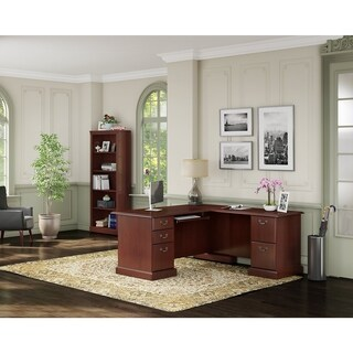 kathy ireland® Office Bennington L Desk and Bookcase in Harvest Cherry - Brown