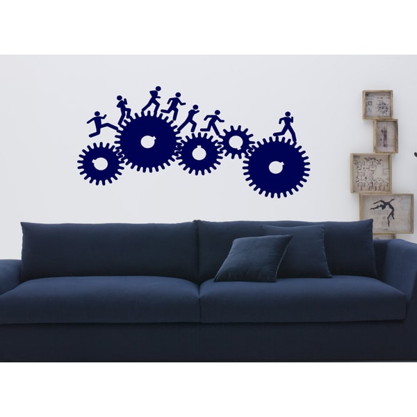 Mechanism people rush Wall Art Sticker Decal Blue