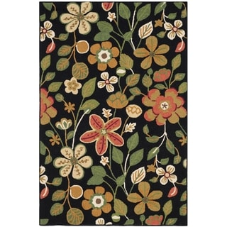 Safavieh Hand-Hooked Four Seasons Black/ Multicolored Polyester Rug (4' x 6')