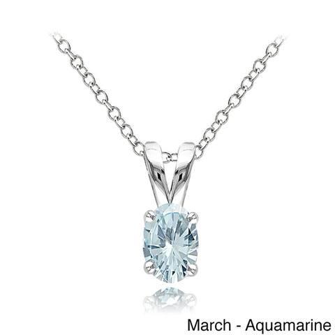 Glitzy Rocks Sterling Silver Gemstone 6x4mm Birthstone Oval Solitaire Necklace