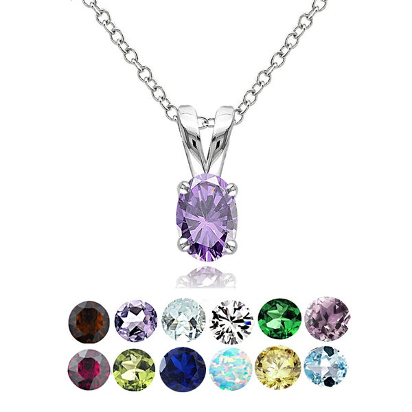 Glitzy Rocks Sterling Silver Gemstone 6x4mm Birthstone Oval Solitaire Necklace. Opens flyout.