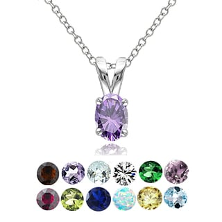 Glitzy Rocks Sterling Silver Gemstone 6x4mm Birthstone Oval Solitaire Necklace (Option: February)