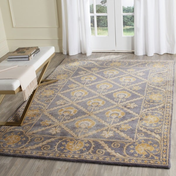 Safavieh Handmade Bella Blue/ Gold Wool Rug (4' x 6')