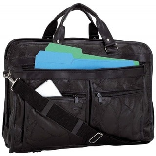 Maxam Brand Italian Mosaic Design Genuine Black Leather Briefcase
