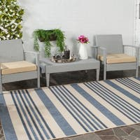 Safavieh Indoor/ Outdoor Courtyard Beige/ Blue Rug - 5' x 8'