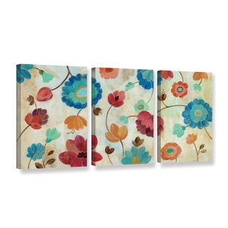 Silvia Vassileva 'Coral and Teal Garden III' 3-piece Gallery Wrapped Canvas Set