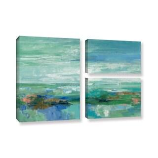 Silvia Vassileva 'Emerald Bay' 3-piece Gallery Wrapped Canvas Flag Set