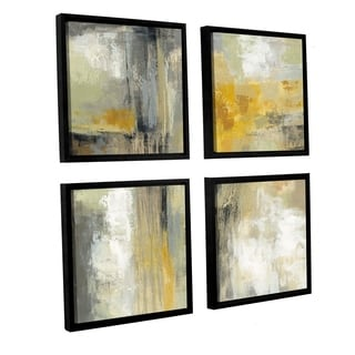 Silvia Vassileva 'Sun and Rain' 4-piece Floater Framed Canvas Sqare Set