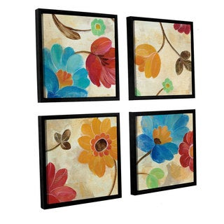 Silvia Vassileva 'Coral and Teal Garden I' 4-piece Floater Framed Canvas Sqare Set