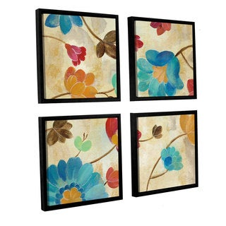 Silvia Vassileva 'Coral and Teal Garden II' 4-piece Floater Framed Canvas Sqare Set