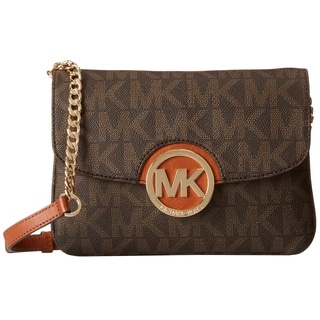 Michael Kors Fulton Signiture Brown Flap Gusset Crossbody Handbag