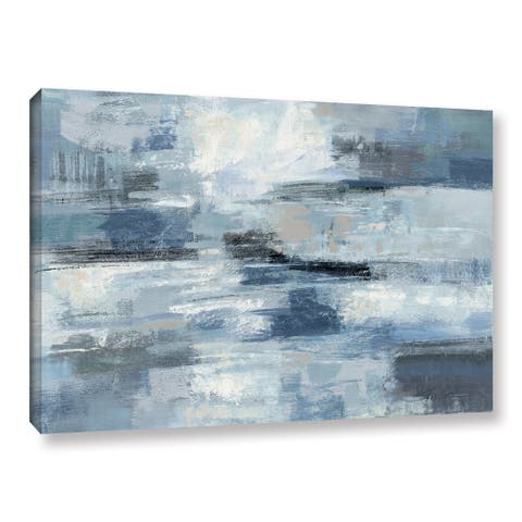 Strick & Bolton Silvia Vassileva 'Clear Water Indigo and Gray' Gallery Wrapped Canvas