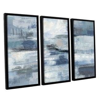 Silvia Vassileva 'Clear Water Indigo and Gray' 3-piece Floater Framed Canvas Set