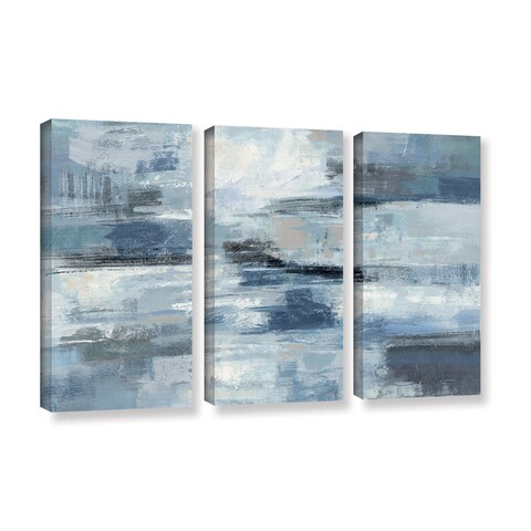 Silvia Vassileva 'Clear Water Indigo and Gray' 3-piece Gallery Wrapped Canvas Set - multi