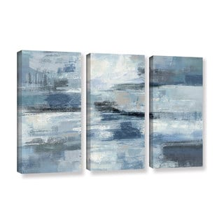 Silvia Vassileva 'Clear Water Indigo and Gray' 3-piece Gallery Wrapped Canvas Set