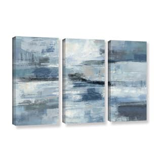 Silvia Vassileva 'Clear Water Indigo and Gray' 3-piece Gallery Wrapped Canvas Set|https://ak1.ostkcdn.com/images/products/11704987/P18628785.jpg?impolicy=medium