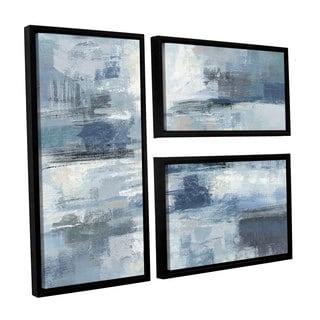 Silvia Vassileva's 'Clear Water Indigo and Gray' 3-piece Floater Framed Canvas Flag Set