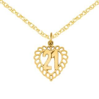 Versil 14 Karat Gold 21 in Heart Charm 18-inch Necklace