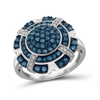 Jewelonfire Sterling Silver 1ct TDW Blue and White Diamond Rim Ring (I-J, I2-I3)