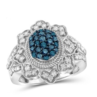 Jewelonfire Sterling Silver 1ct TDW Blue and White Diamond Milgrain Ring (I-J, I2-I3)