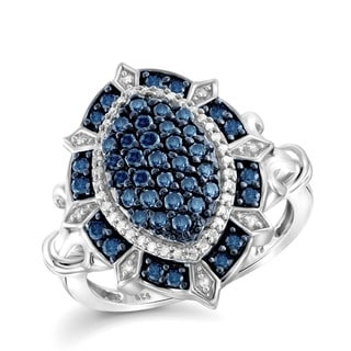 Jewelonfire Sterling Silver 1ct TDW Blue and White Diamond Cocktail Ring