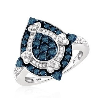 Jewelonfire Sterling Silver 1ct TDW Blue and White Unique Diamond Ring (I-J, I2-I3)