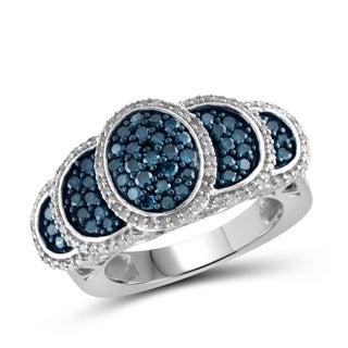 Jewelonfire Sterling Silver 1ct TDW Blue and White Diamond Half Moon Ring